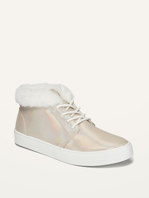 Old Navy Faux-Fur-Lined Iridescent Mid-Top Sneakers for Girls