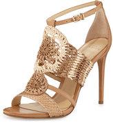 Alexandre Birman Jenne Crochet High-Heel Sandal, Tropic Latte
