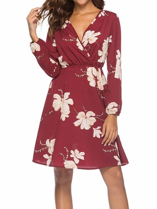 Eledobby Womens Floral Dresses Knee Length Long Sleeve Dress Sexy V-Neck Ladies Wrap Dress Chiffon Casual Clothes Belted Design for Beach Vacation Cocktail Party Wine Red S
