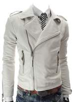Win8Fong Men's Fashion British White//Red Lapel Leather Faux Leather Biker Jacket (, M)
