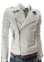 Win8Fongen's Fashion British /Black/Red Lapel Leather Faux Leather Biker Jacket