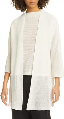 Eileen Fisher Open Front Organic Cotton Long Cardigan