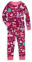 Hatley Little Girl's & Girl's Two-Piece Woodland Tea Party Cotton Pajama Set