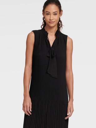 DKNY Long Sleeve Tie Neck Pleated Shift Dress