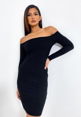 Missguided Black Rib Bardot Mini Dress