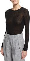 Michael Kors Long-Sleeve Semisheer Top, Black