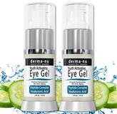 Anti Wrinkle Eye Cream - 2 Pack Eye Gel Treatment for Wrinkles, Puffy Eyes & Dark Circles Under Eyes   Peptides + Hyaluronic Acid + Cucumber + Amino Acids