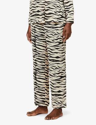 LOVE Stories Weekend zebra-print satin-crepe pyjama trousers
