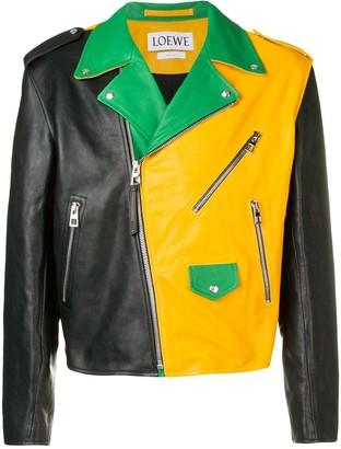 Loewe Colour-Block Leather Jacket
