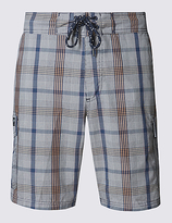 M&s Collection Cotton Rich Quick Dry Checked Swim Shorts