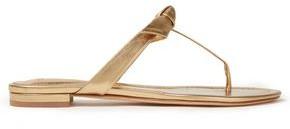 Alexandre Birman Knotted Metallic Leather Sandals