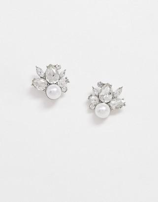True Decadence cluster stud earrings in crystal and pearl