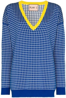 Plan C V-neck checked jumper