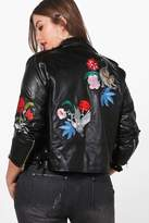 boohoo Plus Emily Embroidered PU Jacket black