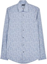 Pal Zileri Pale Blue Cotton Jacquard Shirt