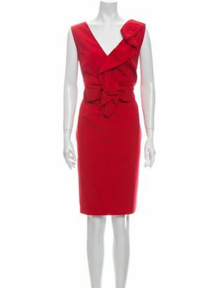 Valentino V-Neck Knee-Length Dress Red