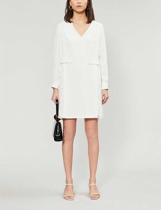 Claudie Pierlot Romaine lace-panel crepe mini dress
