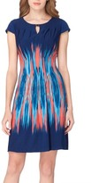 Tahari Women's Flame Print Jersey Sheath Dress