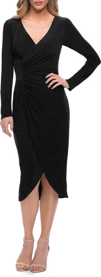 La Femme Long-Sleeve Faux-Wrap Ruched Jersey Dress