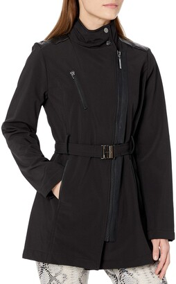 Kensie Women's Softshell Trench with Trim