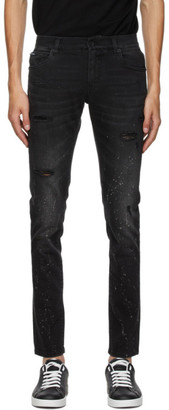 Dolce & Gabbana Black Paint Splatter Jeans