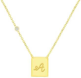 Savvy Cie 18K Gold Vermeil CZ Script Initial Pendant Necklace - Multiple Letters Available