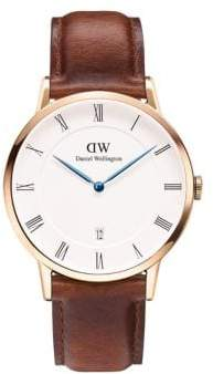 Daniel Wellington Dapper St Mawes Rose Gold and Leather Strap Watch, 38mm