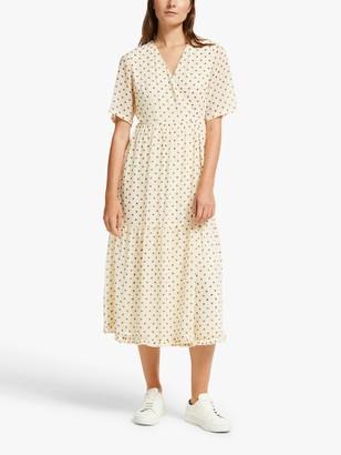 Y.A.S Dot Wrap Dress, White