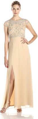 Adrianna Papell Women's Sleeveless Gown with Beaded Bodice and Scoop Neck
