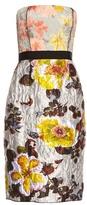 Oscar de la Renta Floral-jacquard brocade strapless dress