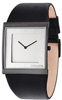 Police Men's Quartz Watch with Silver Dial Analogue Display and Black Leather Strap 14694MSB/04