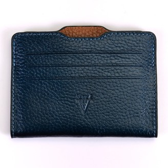 Atelier Hiva Double Card Holder Metallic Navy Blue & Brown
