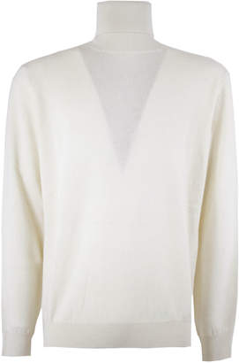 Laneus White Cashmere Roll Neck Jumper