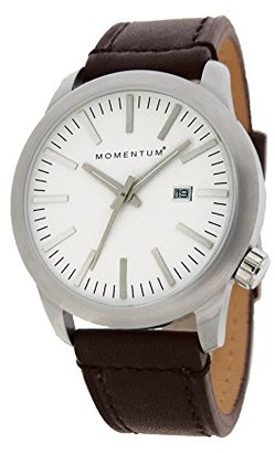 Momentum Mens Quartz Watch | Logic 42 by | Stainless Steel Watches for Men | Sports Watch with Japanese Movement & Analog Display | Water Resistant watch with Date White / Brown Leather