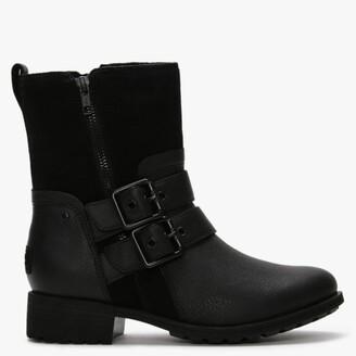 UGG Wilde Black Leather & Suede Biker Boots