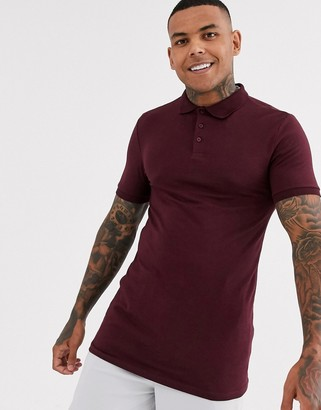 ASOS DESIGN muscle fit longline polo in burgundy
