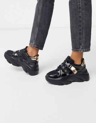 ASOS DESIGN Darcy chunky lace up sneakers in black