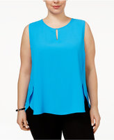 Nine West Plus Size High-Low Shell