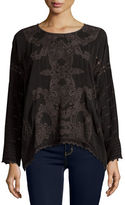 Johnny Was Alona Long-Sleeve Embroidered Georgette Top, Black, Plus Size