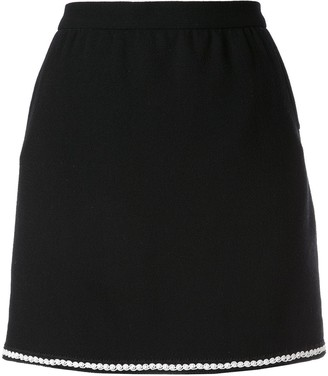 Chanel Pre Owned Contrast Trim Mini Skirt