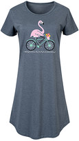 Instant Message Women's Women's Tee Shirt Dresses HEATHER - Heather Blue Flamingo on Bike Short-Sleeve Dress - Women & Plus