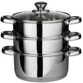 Camilla And Marc Premier Housewares Stainless Steel Steamer with Glass Lid, 22 cm