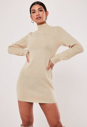 Missguided Fitted High Neck Knitted Dress