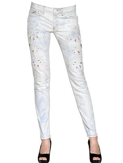 Just Cavalli Floral Embroidered Denim Jeans