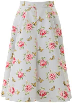 Prada Floral Printed Flared Skirt