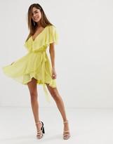 Asos Design DESIGN cape back dipped hem mini dress