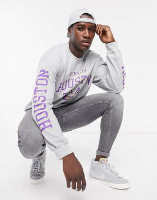 Topman sweat with varsity print in gray