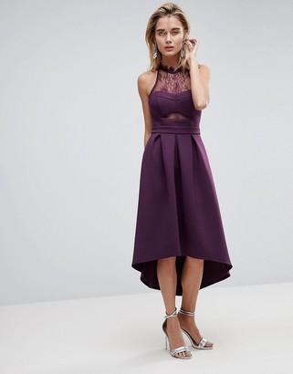 Asos Design Halter Lace Top Dip Back Prom Dress