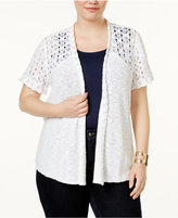Style&Co. Style & Co Plus Size Cotton Open-Front Cardigan, Created for Macy's