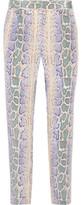 Equipment Soren Snake-Print Washed-Silk Tapered Pants